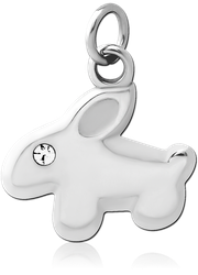 SURGICAL STEEL GRADE 316L JEWELED CHARM - RABBIT