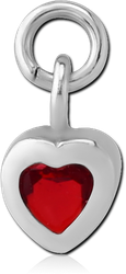 SURGICAL STEEL GRADE 316L JEWELED CHARM - HEART