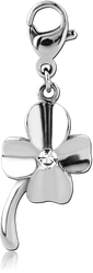 SURGICAL STEEL GRADE 316L JEWELED CHARM WITH LOBSTER LOCKER - SHAMROCK