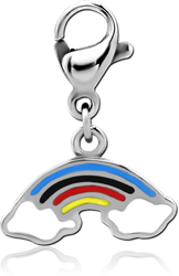 SURGICAL STEEL GRADE 316L CHARM WITH LOBSTER LOCKER - RAINBOW