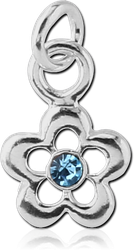STERLING 925 SILVER JEWELED FLOWER CHARM