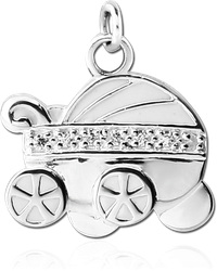 STERLING 925 SILVER CHARM - BABY CARRIAGE