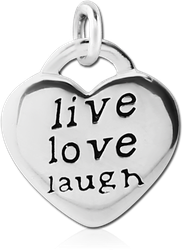 STERLING 925 SILVER CHARM - HEART LIVE LOVE LAUGH