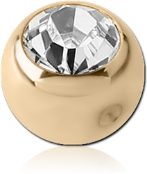 ZIRCON GOLD PVD COATED SURGICAL STEEL GRADE 316L OPTIMA CRYSTAL BALL FOR BALL CLOSURE RING