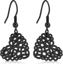 BLACK PVD COATED SURGICAL STEEL GRADE 316L EARRINGS - HEARTS