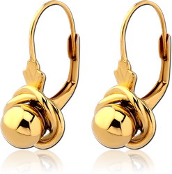 GOLD PLATED STERLING 925 SILVER EARRINGS PAIR - BALL