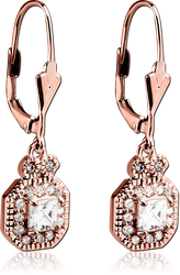 ROSE GOLD PVD COATED SURGICAL STEEL GRADE 316L JEWELED EARRINGS PAIR - OCTAGON