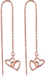 STERLING 925 SILVER ROSE GOLD PVD COATED CHAIN EARRINGS PAIR - HEARTS