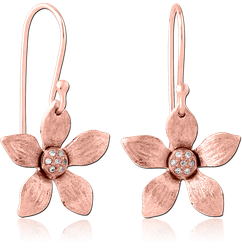 STERLING 925 SILVER ROSE GOLD PVD COATED JEWELED EARRINGS PAIR - FLOWER