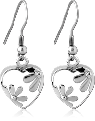 SURGICAL STEEL GRADE 316L EARRINGS WITH ENAMEL - HEART WITH FLOWER