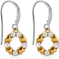 STERLING 925 SILVER JEWELED TWO TONE EARRINGS PAIR - HEARTS