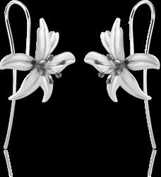 STERLING 925 SILVER EARRINGS PAIR - FLOWER