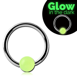 SURGICAL STEEL GRADE 316L BALL CLOSURE RING WITH GLOW IN THE DARK BALL
