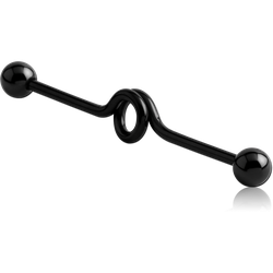 BLACK PVD COATED SURGICAL STEEL GRADE 316L INDUSTRIAL LOOP BARBELL