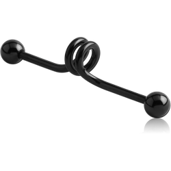BLACK PVD COATED SURGICAL STEEL GRADE 316L INDUSTRIAL SPRING BARBELL