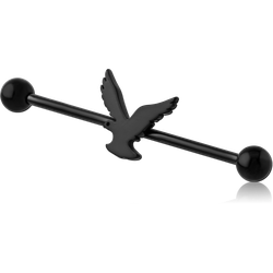 BLACK PVD COATED SURGICAL STEEL GRADE 316L SURGICAL STEEL GRADE 316L INDUSTRIAL BARBELL - EAGLE