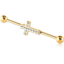 GOLD PVD COATED SURGICAL STEEL GRADE 316L INDUSTRIAL BARBELL WITH JEWELED CROSS