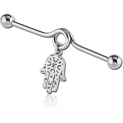 SURGICAL STEEL GRADE 316L INDUSTRIAL BARBELL WITH WHITE METAL DANGLING CHARM
