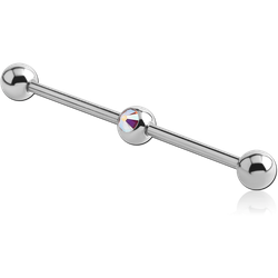 SURGICAL STEEL GRADE 316L SWAROVSKI CRYSTAL JEWELED INDUSTRIAL BARBELL