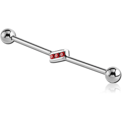 SURGICAL STEEL GRADE 316L JEWELED INDUSTRIAL BARBELL