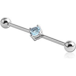 SURGICAL STEEL GRADE 316L PRONG SET JEWELED INDUSTRIAL BARBELL