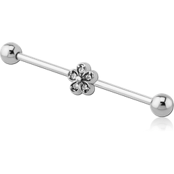 SURGICAL STEEL GRADE 316L INDUSTRIAL BARBELL WITH FLOWER STONE