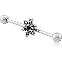 SURGICAL STEEL GRADE 316L SNOWFLAKE INDUSTRIAL BARBELL