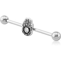 SURGICAL STEEL GRADE 316L HAND OF GOD INDUSTRIAL BARBELL