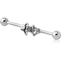 SURGICAL STEEL GRADE 316L INDUSTRIAL BARBELL ADJUSTABLE SLIDING CHARM - SKELETON