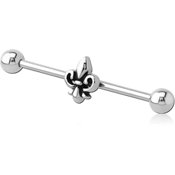 SURGICAL STEEL GRADE 316L INDUSTRIAL BARBELL WITH ADJUSTABLE SLIDING CHARM - FLEUR DE LIS