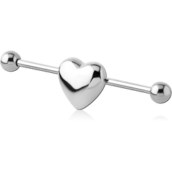 SURGICAL STEEL GRADE 316L INDUSTRIAL BARBELL - HEART