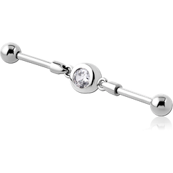 SURGICAL STEEL GRADE 316L INDUSTRIAL BARBELL JEWELED CHARM - CIRCLES