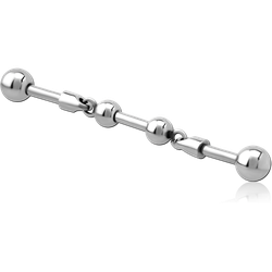 SURGICAL STEEL GRADE 316L INDUSTRIAL BARBELL CHARM - TWO BALL