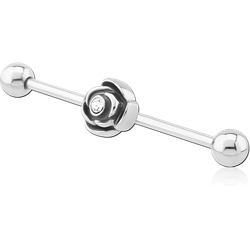 SURGICAL STEEL GRADE 316L INDUSTRIAL BARBELL WITH FLOWER