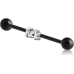 BIOFLEX® INDUSTRIAL BARBELL ADJUSTABLE SLIDING CHARM WITH BLACK PVD BALLS