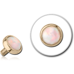 14 KARAT GOLD YELLOW SYNTHETIC OPAL JEWELED DISC FOR 1.2MM INTERNALLY THREADED PINS