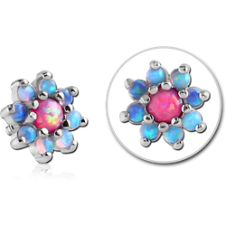 SURGICAL STEEL GRADE 316L ORGANIC SYNTHETIC OPAL JEWELED FLOWER ATTACHMENT FOR 1.2MM INTERNALLY THREADED PINS