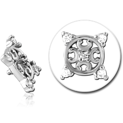 SURGICAL STEEL GRADE 316L JEWELED MICRO ATTACHMENT FOR 1.2MM INTERNALLY THREADED PINS - FILIGREE