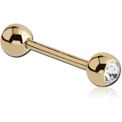 18 KARAT GOLD YELLOW DOUBLE JEWELED MICRO BARBELL