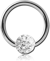 SURGICAL STEEL GRADE 316L BALL CLOSURE RING WITH EPOXY COATED CRYSTALINE JEWELED BALL