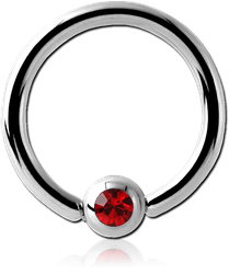 SURGICAL STEEL GRADE 316L SWAROVSKI CRYSTAL JEWELED BALL CLOSURE RING