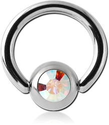 SURGICAL STEEL GRADE 316L JEWELED BALL CLOSURE RING WITH OPTIMA CRYSTAL