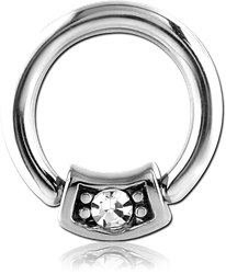 SURGICAL STEEL GRADE 316L ROUND JEWELED BALL CLOSURE RING