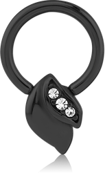 BLACK PVD COATED SURGICAL STEEL GRADE 316L JEWELED BALL CLOSURE RING