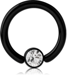 BLACK PVD COATED TITANIUM ALLOY JEWELED DISC BALL CLOSURE RING FOR INNER LIP