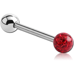 SURGICAL STEEL GRADE 316L BARBELL WITH EPOXY COATED CRYSTALINE JEWELED BALL