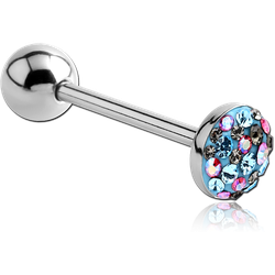 SURGICAL STEEL GRADE 316L CRYSTALINE JEWELED FLAT BARBELL