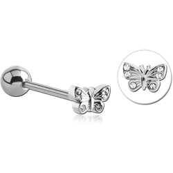 SURGICAL STEEL GRADE 316L BUTTERFLY JEWELED BARBELL