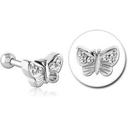 SURGICAL STEEL GRADE 316L BUTTERFLY JEWELED TRAGUS BARBELL