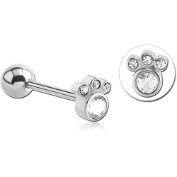 SURGICAL STEEL GRADE 316L SWAROVSKI CRYSTAL JEWELED BARBELL